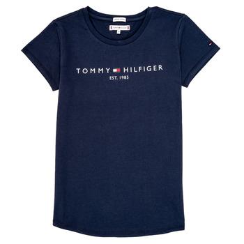 textil Pige T-shirts m. korte ærmer Tommy Hilfiger KG0KG05242-C87 Marineblå