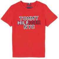 textil Dreng T-shirts m. korte ærmer Tommy Hilfiger KB0KB05848-XNL Rød