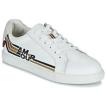 Sko Dame Lave sneakers Bons baisers de Paname SIMONE AMOUR RETRO Hvid / Guld