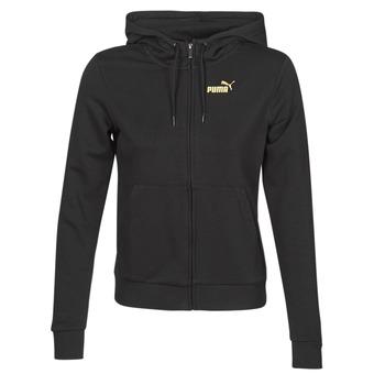 textil Dame Sportsjakker Puma METALLIC FZ HOODY TR Sort / Gylden