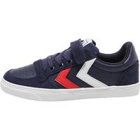 Sko Dreng Lave sneakers Hummel Baskets enfant  slimmer stadil leather low bleu foncé