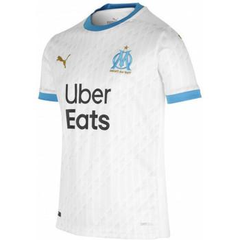 textil Dreng T-shirts m. korte ærmer Puma Maillot domicile enfant OM 2020/21 blanc/bleu azur