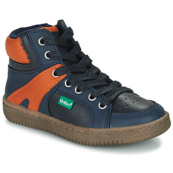 Sko Dreng Høje sneakers Kickers Lowell Marineblå / Orange