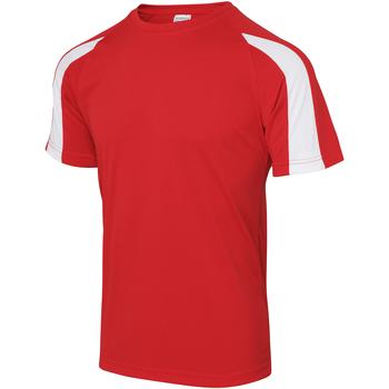 textil Herre T-shirts m. korte ærmer Just Cool JC003 Fire Red/Arctic White