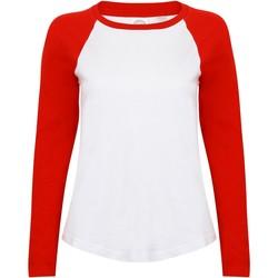 textil Dame Langærmede T-shirts Skinni Fit SK271 White/Red