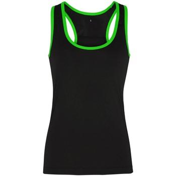 textil Dame Toppe / T-shirts uden ærmer Tridri TR023 Black/ Lightning Green