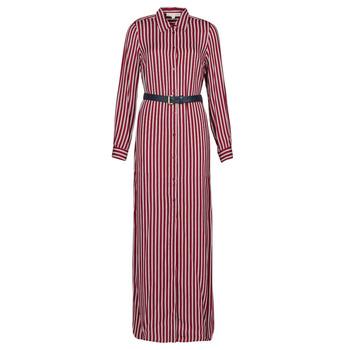 textil Dame Lange kjoler MICHAEL Michael Kors WARM PLAYFL SHIRT DR Bordeaux / Hvid / Marineblå