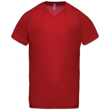 textil Herre T-shirts m. korte ærmer Proact T-Shirt Col V  Sport rouge