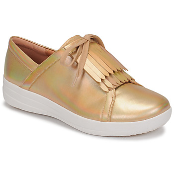 Sko Dame Lave sneakers FitFlop F-SPORTY II LACE UP FRINGE SNEAKERS-IRIDESCENT LTR Guld