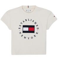 textil Pige T-shirts m. korte ærmer Tommy Hilfiger KG0KG05503-Z00-J Beige