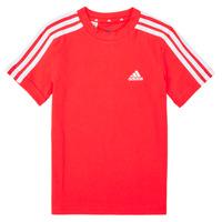 textil Dreng T-shirts m. korte ærmer adidas Performance B 3S T Rød