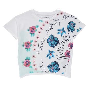 textil Pige T-shirts m. korte ærmer Desigual 21SGTK02-1000 Hvid