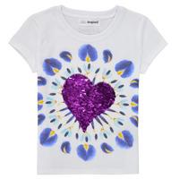 textil Pige T-shirts m. korte ærmer Desigual 21SGTK45-1000 Hvid
