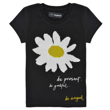 textil Pige T-shirts m. korte ærmer Desigual 21SGTK28-2000 Sort