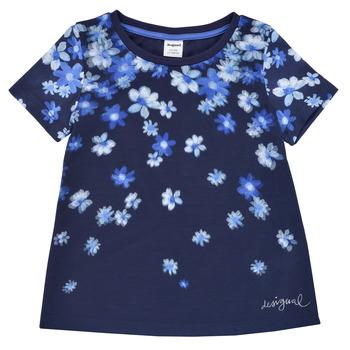 textil Pige T-shirts m. korte ærmer Desigual 21SGTK37-5000 Marineblå