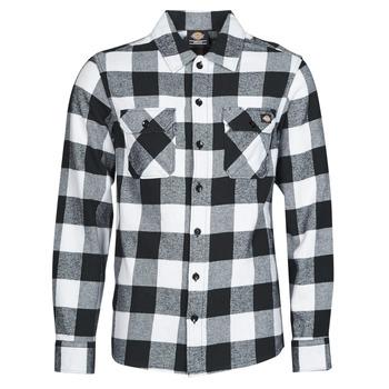 textil Herre Skjorter m. lange ærmer Dickies NEW SACRAMENTO SHIRT BLACK Sort / Hvid