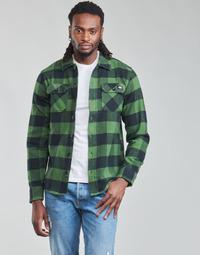 textil Herre Skjorter m. lange ærmer Dickies NEW SACRAMENTO SHIRT PINE GREEN Kaki / Sort