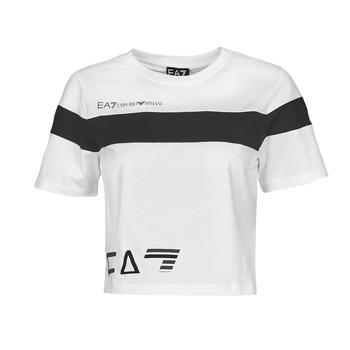 textil Dame T-shirts m. korte ærmer Emporio Armani EA7 3KTT05-TJ9ZZ-1100 Hvid / Sort