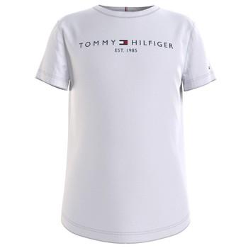 textil Pige T-shirts m. korte ærmer Tommy Hilfiger KG0KG05242-YBR Hvid