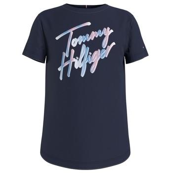 textil Pige T-shirts m. korte ærmer Tommy Hilfiger KG0KG05870-C87 Marineblå