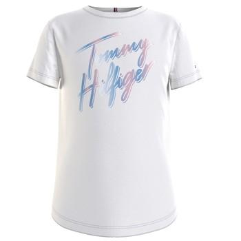 textil Pige T-shirts m. korte ærmer Tommy Hilfiger KG0KG05870-YBR Hvid