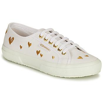 Sko Dame Lave sneakers Superga 2750 HEARTS EMBRODERY Hvid / Guld