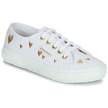 Sko Børn Lave sneakers Superga 2750 COTJEMBROIDERY LAMEHEARTS Hvid / Guld