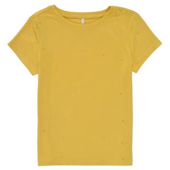 textil Pige T-shirts m. korte ærmer Only KONMOULINS Gul