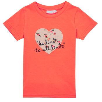 textil Pige T-shirts m. korte ærmer Name it NMFDELFIN TOP Koral