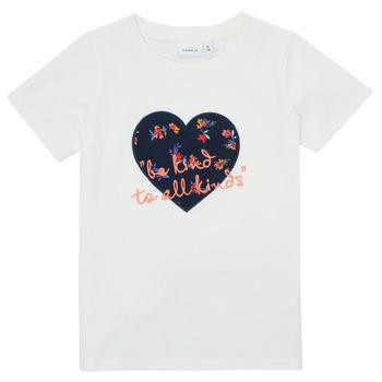 textil Pige T-shirts m. korte ærmer Name it NMFDELFIN TOP Hvid
