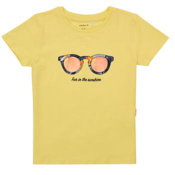 textil Pige T-shirts m. korte ærmer Name it NMFFISUMMER Gul