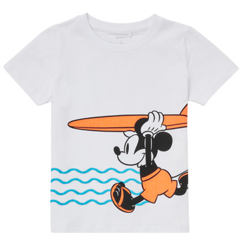 textil Dreng T-shirts m. korte ærmer Name it NMMMICKEY Hvid