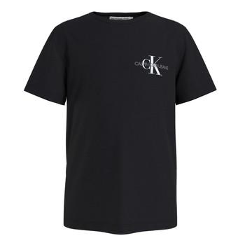 textil Dreng T-shirts m. korte ærmer Calvin Klein Jeans CHEST MONOGRAM TOP Sort