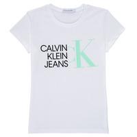 textil Pige T-shirts m. korte ærmer Calvin Klein Jeans HYBRID LOGO SLIM T-SHIRT Hvid