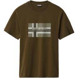 textil Herre T-shirts m. korte ærmer Napapijri NP0A4E38 Grøn