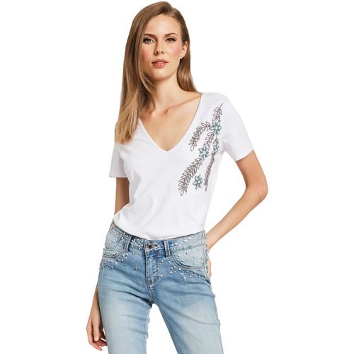 textil Dame T-shirts m. korte ærmer Gaudi 011BD64017 hvid