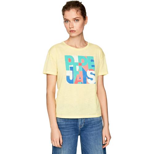 textil Dame T-shirts m. korte ærmer Pepe jeans PL504439 Gul