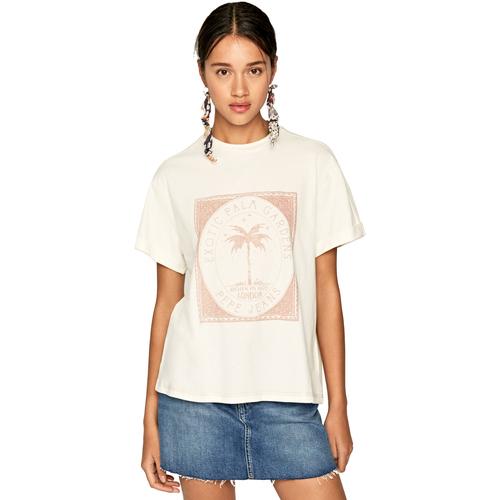 textil Dame T-shirts m. korte ærmer Pepe jeans PL504478 Beige