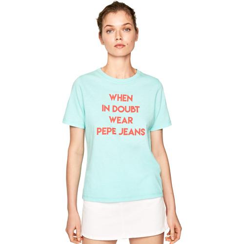 textil Dame T-shirts m. korte ærmer Pepe jeans PL504463 Blå