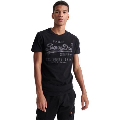 textil Herre T-shirts m. korte ærmer Superdry M1010100A Sort