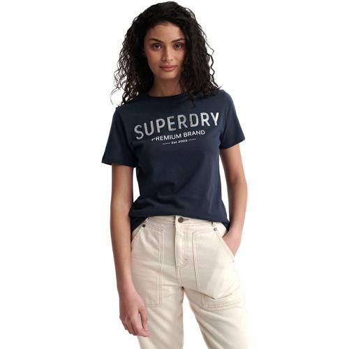 textil Dame T-shirts m. korte ærmer Superdry W1010006A Blå