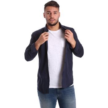 textil Herre Skjorter m. lange ærmer Antony Morato MMSL00408 FA400047 Blå