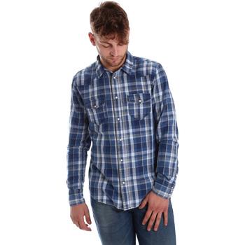 textil Herre Skjorter m. lange ærmer Gaudi 721BU46008 Blå