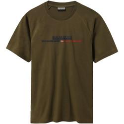 textil Herre T-shirts m. korte ærmer Napapijri NP0A4E37 Grøn