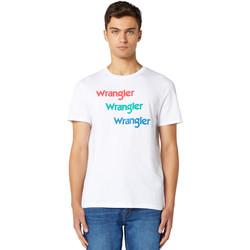 textil Herre T-shirts m. korte ærmer Wrangler W7D7D3989 hvid