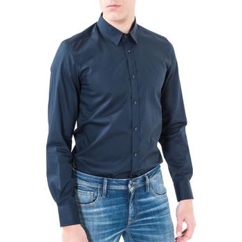 textil Herre Skjorter m. lange ærmer Antony Morato MMSL00362 FA400042 Blå