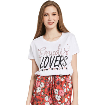 textil Dame T-shirts m. korte ærmer Gaudi 011BD64008 hvid