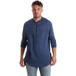 textil Herre Skjorter m. lange ærmer Antony Morato MMSL00531 FA400051 Blå