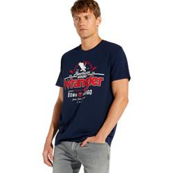 textil Herre T-shirts m. korte ærmer Wrangler W7C08F Blå