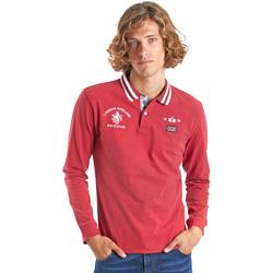 textil Herre Polo-t-shirts m. lange ærmer La Martina OMP325 JS005 Rød